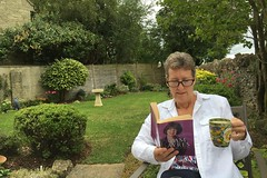 227 2016 Pam Ayres and a cup of coffee (Margaret Stranks) Tags: 227366 365days 2016 pamayres book coffee mug garden quenington gloucestershire uk