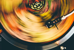 Colorful Motion (freyavev) Tags: rocknroll bluespills lpplayer lp vinyl record retro vintage colorful psychedelic yellow red green motion longexposure detail birdseyeview music niftyfifty 50mm canon vsco