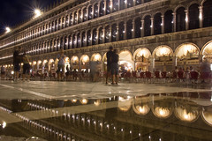 Reflections of San Marco Square (Photography by Mike Elias) Tags: venice night italy europe travel san marco square reflection low light canon t2i