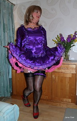 2 Curtsey (janegeetgirl2) Tags: transvestite crossdresser crossdressing tgirl tv ts stockings heels garters nylons glamour petticoat purple red satin dress stilettos fully fashioned high vintage seams maid black suspenders jane gee