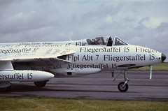 """""""Read all about it"""" (crusader752) Tags: exswissairforce hawker hunter f58 j4015hbrvs papyrus kemble 50thanniversary jet jetfighter aircraft 2001"""