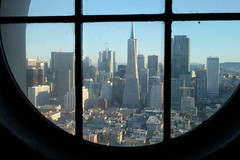 Through the Window (Yoan Mitov) Tags: san francisco california usa trip 2016 travel fuji xt10 27mm f28 coit tower view downtown skyscrapers buildings window frame