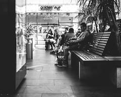 He is listening (Tobias Zils) Tags: street boy people music white black 35mm mall germany relax essen fuji streetphotography crop xpro1 xf23mm pottpourristreet