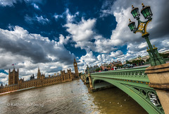 Palace of Westminster (Katherine Young) Tags: street travel bridge blue houses sky london water lamp westminster thames architecture clouds river nikon parliament palace hdr d800 thebestofhdr