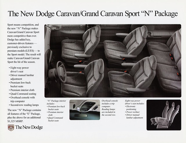 sport interior n grand dodge 1998 caravan brochure package