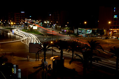 Marrakesh Traffic (Dave G Kelly) Tags: africa longexposure trees night photography view palmtrees morocco marrakesh elevated trafficcars elevatedview