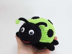 Ladybug (muustare) Tags: baby cute green soft handmade crochet yarn softie cotton ladybug organic etsy amigurumi crocheted teether rattle babytoy babyrattle bymarika handmadebymarika