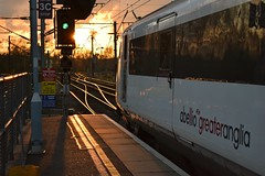 DVT 82107 at the front of the 18.30 London Liverpool Street - Norwich Service, about to depart Ipswich and into a fiery sunset. 29 04 2015 (pnb511) Tags: light sunset england green golden suffolk railway trains points ipswich geml greateasternmainline pointwork abelliogreateranglia