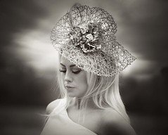 At the races (Anne Costello 2) Tags: wedding summer portrait girl hat fashion magazine eyes pretty mood celebration blonde editorial bookcover races accessory