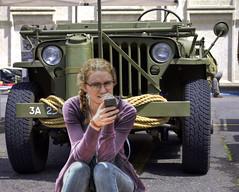 Jeep - WWII Era (swong95765) Tags: woman lady army phone jeep military femal