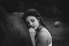 The girl and the horse (lunaperri) Tags: park wild summer portrait people horse sun white plant black art abandoned nature girl beauty animal dark landscape photography photo artist photoshoot arms natural sleep powder pale lan land afraid
