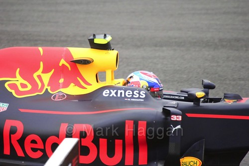 Max Verstappen in his Red Bull in Free Practice 1 at the 2016 British Grand Prix