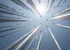 FlickrPhotowalk - Los Angeles (ShutterJack) Tags: aluminium aluminum energy flare poles sun sunflare wind windmill tongva tongvapark