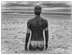 Another Place, at Crosby Beach (Dave Moseley Photography) Tags: anotherplacesculpturesbyantonygormley sculpture blackandwhitephotography davemoseleyphotography beach crosbybeach sirantonygormley merseyside liverpool sea