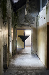 AK_Overlapping III (| Ak |) Tags: door white abstract black art abandoned geometric triangles triangle geometry ak optical illusion op walls anamorphic opart abandonedspace postgraffiti opticalart akdwg