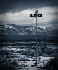 Street Sign (richham14 - (Mr Cubs}) Tags: bw signs clouds desert 225negatives