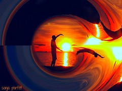 hot day take a dive (Sonja Parfitt) Tags: sunset friend englishbay water manipulated