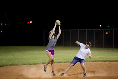 Too close to call (Flickr_Rick) Tags: outside softball night summer sports action