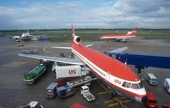 Dsseldorf Airport - 1990's (Longreach - Jonathan McDonnell) Tags: dsseldorf dsseldorfairport eddl lockheed lockheedtristar ltu nikoncoolscanved scan scanfromaslide 1990s 1995 28091995 1046024 daerl daern lt lufttransportunternehmengmbh n339ea