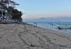 Bali - Sanur Sunset (zorro1945) Tags: bali indonesia asia sanur sanurbeach eveninglight sunset sundown gloaming nightfall beachbar bar mountain boats volcano sand seaweed