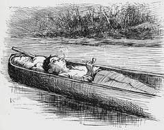"""""""Taking a rest."""" Art by E. W. Kemble from """"Adventures of Huckleberry Finn"""" by Mark Twain (1885). First U.S. edition. (lhboudreau) Tags: illustration book etching drawing illustrations drawings books smoking canoe webster marktwain bookart 1885 hardcover etchings samuelclemens huckfinn kemble firstedition vintagebook huckleberryfinn smokingpipe takingarest pipesmoking hardcovers classicfiction charleswebster hardcoverbooks hardcoverbook adventuresofhuckleberryfinn classicstory charleslwebster classictale ewkemble firstamericanedition firstusedition charleslwebsterco charleslwebsterandcompany"""