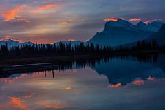Sun rise (poormommy) Tags: cloud mountain reflection tree sunrise banff banffnationalpark vermilionlake challengegamewinner achallengeforyou