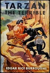 """Tarzan the Terrible"" by Edgar Rice Burroughs. NY: Grosset & Dunlap, (1948). Reprint edition.  Art by C. Edmund Monroe (lhboudreau) Tags: 1948 book dj books burroughs blackman apeman tarzan bookart edgarriceburroughs hardcover dustjacket reprint vintagebook vintagebooks erburroughs bookcoverart hardcovers hardcoverbooks hardcoverbook grossetdunlap tarzantheterrible reprintedition dustjacketart cedmundmonroe"