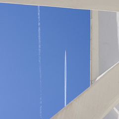 Abstract Valencia with plane trail (Sallyrango) Tags: urban abstract geometric valencia square spain geometry trails bluesky modernarchitecture urbanabstract planetrails ciudaddelasartesylasciencas cityofartsandsciences abstractsquare
