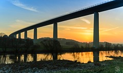 Ruhrtalbrücke Feb 2015 (jennifer.stahn) Tags: bridge sunset sun sunrise river nikon jennifer tamron brücke sonnenaufgang ruhr mülheim ruhrtalbrücke stahn d7000