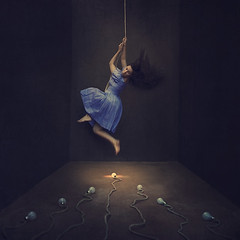 running scared (brookeshaden) Tags: light painterly texture composite fairytale darkroom photoshop darkness fear lightbulbs rope scared struggle anxiety runningaway purpledress fineartphotography darkart conceptualart selfportraitphotography brookeshaden