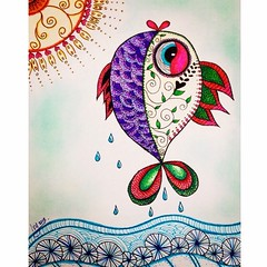 Colorful doodle fish (ivysanchez14) Tags: original fish color art ink design artwork artist arte handmade drawing doodle sharing draw dibujo diseo zentangle artoftheday zendoodle