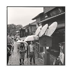 umbrellas  kyoto, kansai  2015 (lem's) Tags: street rain japan rolleiflex kyoto pluie pedestrians umbrellas rue kansai japon planar parapluies passntes