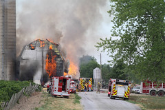 Large Barn Fire in Thorold (Shane B. Murphy - Photographer) Tags: niagara ontario thorold pelham 406 qew peninsula region canada fire flame smoke water barn rural cows livestock animal killed structure tower black photojournalist photojournalism firebuff canon 7d tanker pumper ladder aerial chief firefighter working flames showing large