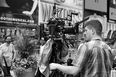 Camera man (kogh65) Tags: life street camera new leica york city nyc travel people white ny black art field photography 50mm mono photo tv focus artist image outdoor pov manhattan candid young picture m special broadcasting production depth tone reportage 2016 kogh kogh65
