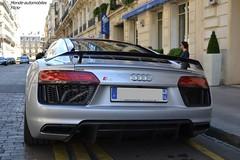 Audi R8 V10 Plus 2015 (Monde-Auto Passion Photos) Tags: auto paris france automobile plus audi v10 coup r8 grise