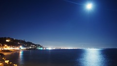full moon over palisades and santa monica (bywayofpdx) Tags: santamonica losangeles pacificcoasthighway pch coast beach nightphotography cityscape citylights moonlight lightstreaks sonya6000 sonycamera moon fullmoon
