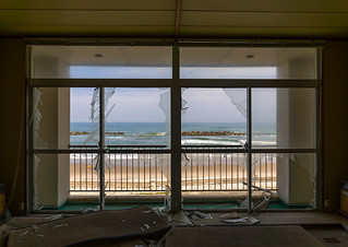 View from a devastated marine house in the highly contaminated area after the daiichi nuclear power plant irradiation and the tsunami, Fukushima prefecture, Futaba, Japan