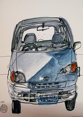 Ingrid's car (Evelyn Bach) Tags: car sketch drawing sketchbook penandwatercolour