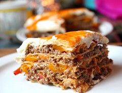 Layered Seasoned Beef with Grilled Peppers Mexican Lasagna (Suzie the Foodie www.suziethefoodie.com) Tags: layered seasoned beef with grilled peppers mexican lasagna suzie foodie