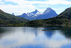 Norway (Joseph W Ling) Tags: norway water reflect reflection outdoor scenery seascape landscape tranquility peaceful mountain mountainside peak green blue snow ice cloud