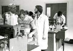 Dr. Vernon Winn in the lab (PUC Special Collections) Tags: laboratory lab pacificunioncollege chemistrydepartment chemistrylab chemistry beakers test tubes scientist labcoat experiments angwin california adventist sda seventhdayadventist college