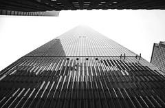 vanishing point (JuanCarViLo) Tags: world trade center street reflection city new york black white infinite architecture building skyscrapper