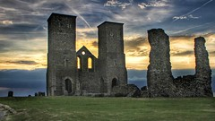 Reculver Towers (opshorton) Tags: tamronlens stormclouds reculvertowers vapourtrails grass sky ruins southeast kent reculver twintowers sunset manfrotto canon7d canon