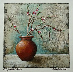 25 juillet 2016 - July 25, 2016 (marieclaprood) Tags: painting art zen stilllife marieclaprood claprood acrylic finearts artwork asianinfluence flowerpot vase flowers floral dailypainting acrylicpainting july peaceful illustration texture