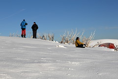 Morning Meditation (blachswan) Tags: bushwalking victoria australia alpinenationalpark snow winter mountfeathertop tent morningmeditation meditation bushwalkers