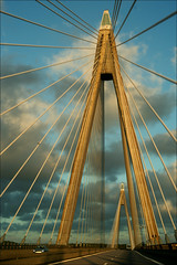 Sunningebron (*Kicki*) Tags: bridge car sky clouds road wire sunningebron bro vstkusten sweden uddevalla bohusln 50mm architecture lines leadinglines construction infrastructure westcoast eveninglight evening sunningesundsbron uddevallabron
