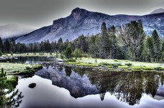 Early Morning Yosemite (Spebak) Tags: norcal california summer 2016 spebak yosemite nationalpark northerncalifornia mountains reflections reflection trees clouds smoke canon canon30d canondslr dslr waterpond pond water july hdr
