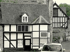Much Wenlock is full of timber frame houses (eucharisto deo) Tags: bw fachwerk timberframe tudor much wenlock tudorstyle blackandwhite bandw blackwhite timber frame timberframed