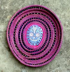 Dia de Los Muertos Basket 2 (floyfreestyle) Tags: eneedles pottery calavera diadelosmuertos dayofthedead beads pink handmade