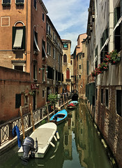 Venice (kendallphotos) Tags: italy day morning summer street venice sky clouds view water river bridge canal venezia hdr tophdr colors italia boats europe explore reflection outdoor city sun yellow red